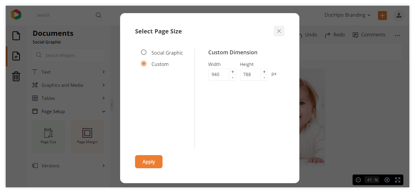 Customizing the page dimension of your design document